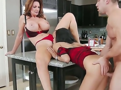 Cute slender hottie and her heavy chested mother Deauxma and Gulliana Alexis seduce confused Johnny Castle with flawless firm body and fuck with him like pros all over the kitchen.