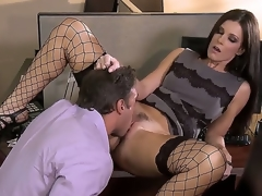 Irresistible milf India Summer is pleasing her colleague in the office and they look greater quantity than hot and arousing in this awesome and kinky hardcore scene.