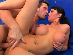 Busty and lustful Eva Karera receives her wet crack licked by Manuel Ferrara and after that that babe sucks him off and receives his enormous dick in her shaved pussy.