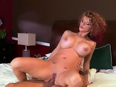 Enormous chested whorish turned on cheating milf Joslyn James with many slutty tattoos and curvy body seduce impressive stud Mick Blue gives him head and enjoys riding his hard dong