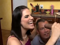 Darksome haired milf with great tits in lingerie Bobbi Starr takes on a hot sexy guy Sledge Hammer in the kitchen, gives him a hot blowjob on her knees while Jimmy Broadway watches