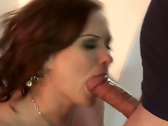 Lusty cock hungry experienced redhead cougar Katja Kassin with big jucy scoops in provocative nylons and high heels gives awesome oral sex session to nerdy fellow with stiff fat cock