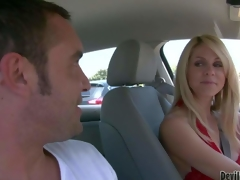 Attractive milf Angela Attison with long blond hair is a playful cougar. Lady in red flashes her billibongs in a car and turns dude on. This babe would like to have some fun with sexy Angela Attison
