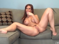 Curvy solo mamma with fake tits has toy sex