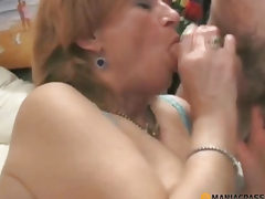 Blonde in underware sucks dick