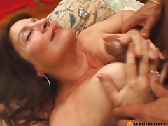 Woman with hirsute cunt drilled by boy