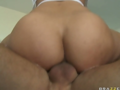 Anal sex junkie with massive bumpers gets on top of cock and rides it with her ass