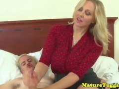 Nifty handjob milf gets cumshot on her boobs