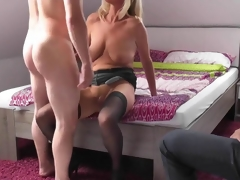 Fair-haired grown-up wife cuckolds her husband