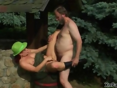 Torrid grey man fucking this mature cunt in along to woods